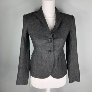 Theory Grey Double Button Closure Wool Blazer 0